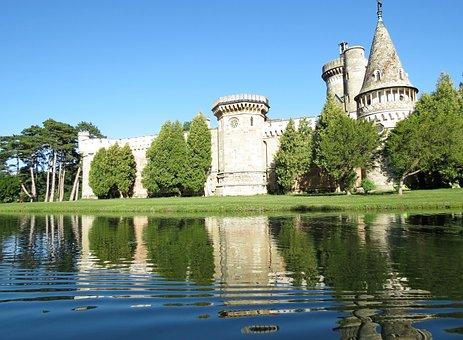 Castle, Austria, Pond, Summer Day, Blue Sky