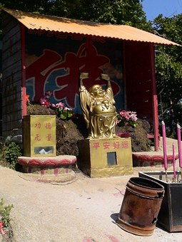 Temple, Buddah, Statue, Gold, China, Fengcheng