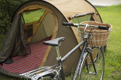Classic, Classic Bike, Bicycle Basket, Tent, Healing