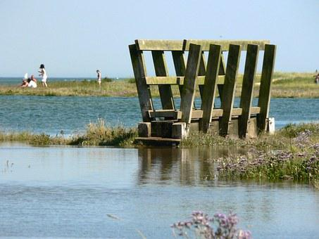 Tide, Beach, Bridge, Flood, Sea, Coast, Landscape