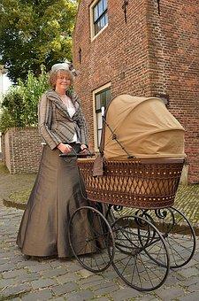 Stroller, Victorian, Antique, Dress, Fashion
