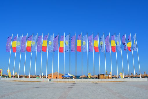 Flag, Flags, Euro, Europe, Romania, Constanta, Seaside