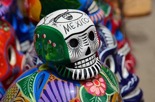Mexico, Skull, Flag, Puebla