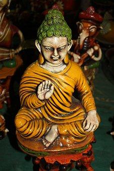 Buddha, Ceramic, Figure, Green, Crown, Yellow, Buddhism