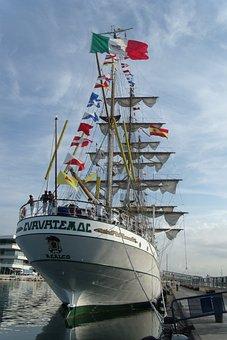 Sailboat, Boat, Ship, Mexico, Mexican Flag, Port