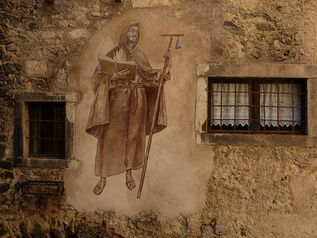 Mural, Painting, Monch, Middle Ages, Medieval Village