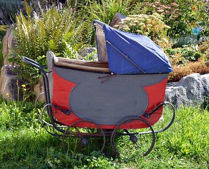 Stroller, Wood, Former, Old