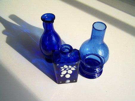 Blue Glass Objects, Light Shadow, Ornaments