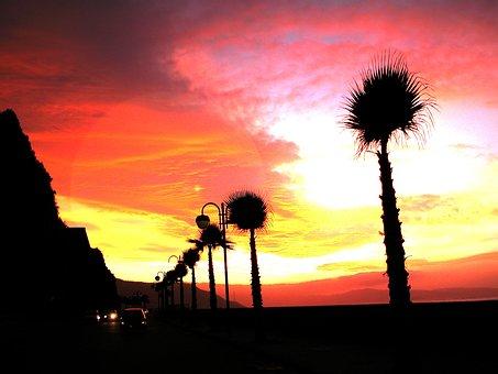 Atardecer, Sunset, Lido, Beach, Sea, Costa, Palms