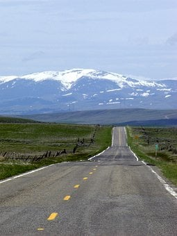 Montana, Usa, Endless, Straight, Road, Snow Caped
