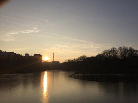 Berlin, Sunset, Radio Tower, Lietzensee, Germany, Dusk