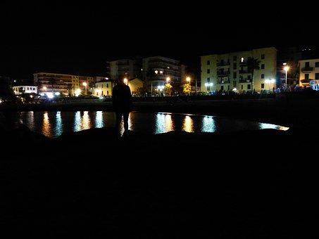 Ventimiglia, Beach, At Night, Lido, Bank, Sea Shore