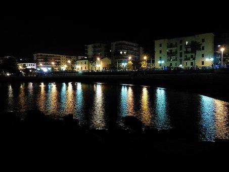 Reflections, Lights, Ventimiglia, Beach, At Night, Lido
