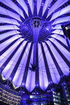 Berlin, Blue, Roof, Sony Center, Modern, Architecture