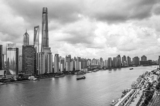 Shanghai, Sky, Building, Street, The Scenery