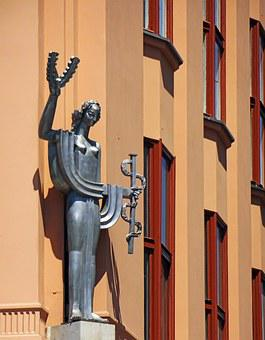 Figure, The Statue Of, Kraków, Building, Art Deco