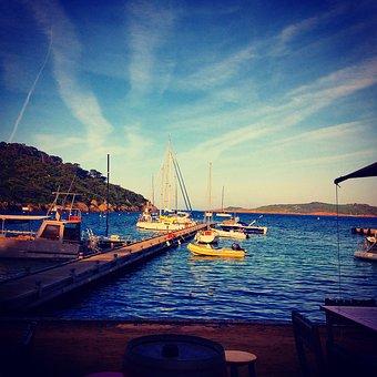Beach, Calm, Sea, Sand, Boats, Port, Island, Port Cros