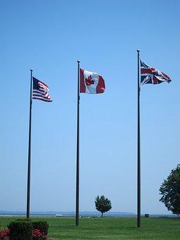 Flag, Sky, America, Canada, Britain, Wind, Patriotism
