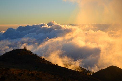Polipoli, Sunset, Clouds, Mountain