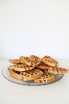 Waffles, Heart, Food, Pastries, Dessert, Sweet Dish