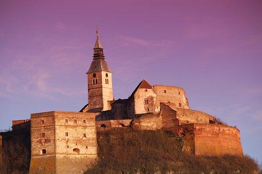 Castle, Güssing, Austria, Evening, Sunset