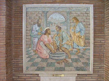 Rome, St Peter, Mosaic, La Lavanda Dei Piedi, Maundy