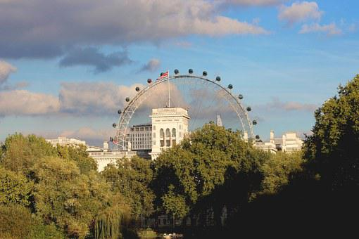 London, Eye, London Eye, England, Clouds, Sky, Trees
