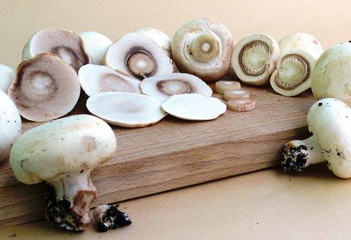 Mushrooms, Button Mushrooms, Cutting