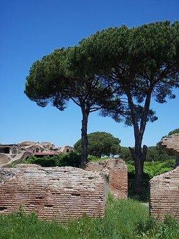 Italy, Italia, Ostia Antica, Tree, Sky, Blue, Old, Wall