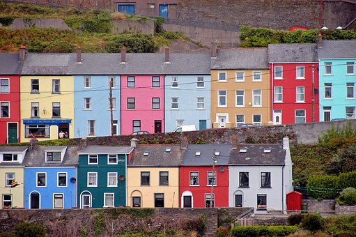 Cobh Cove, Houses, Pastel, Great Island, Cork Harbour