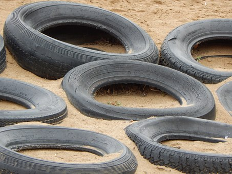 Tires, Playground, Sand, Rubber, Play, Sandbox, Outdoor