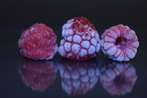 Raspberries, Red, Close, Frozen, Frosted, Ice