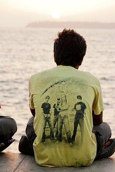 Man, Sitting, Quietly, India, Indian, Sea, Shore, Coast
