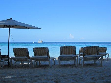 Sunloungers, Beach, Sea, Ocean, Vacation, Chairs