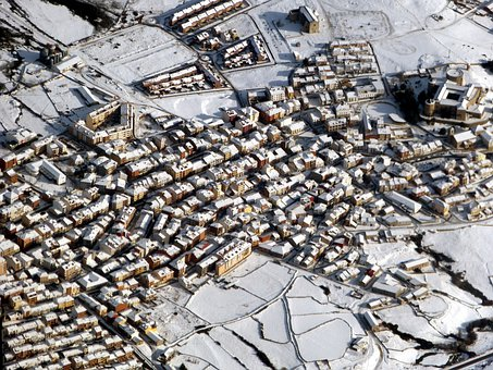 City, Homes, Winter, Snow, Aerial View, Spain, View