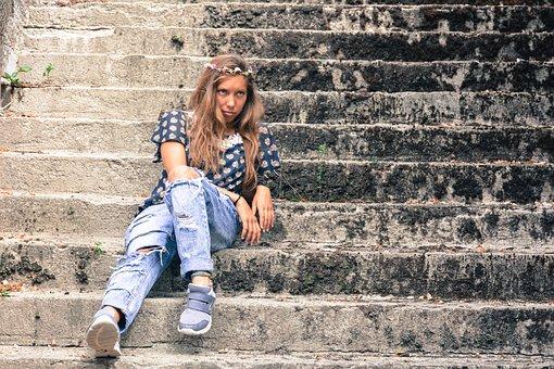 Beautiful, Blonde, Downstairs, Flowers, Girl, Jeans