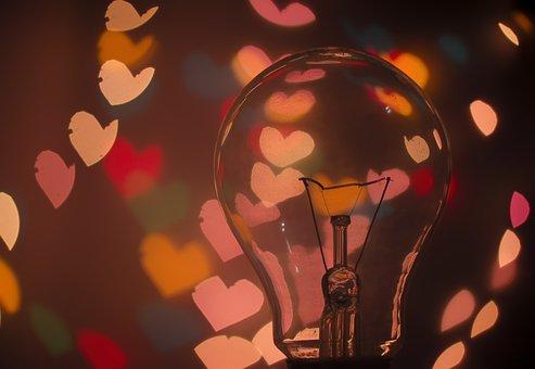 Bulb, Light Bulb, Dark, Hearts, Lights, Macro