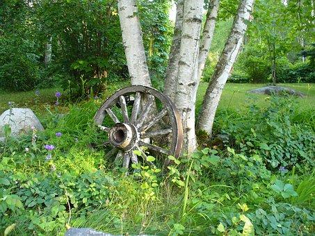 Cartwheel, Tree, Wheel, Antique, Cart, Rural, Country