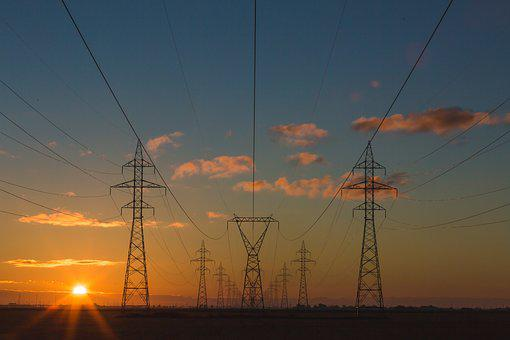 Dawn, Dusk, Electricity, Industry, Power Lines