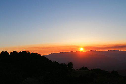 Ojai, Sunset, Clouds, Evening, Mountains, Orange
