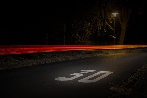 Action, Asphalt, Blur, Dark, Fast, Highway, Lamppost
