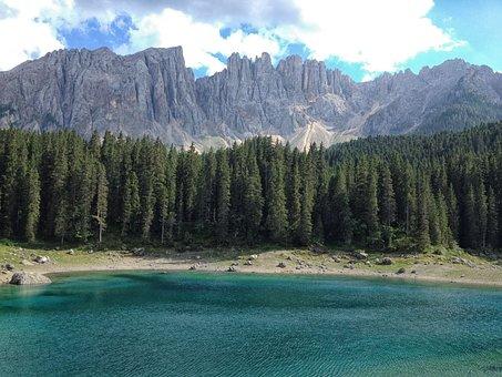 Lake Carezza, Dolomites, Forest, Landscape, Mountains
