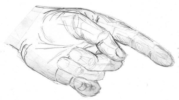 Hand, Showing, Index Finger, Thumb, Finger, Sketch