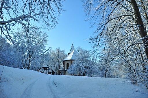 Church, Forest, Winter, Klüschen Hagis, Eichsfeld, Snow