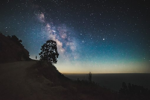 Cosmos, Landscape, Milky Way, Mountain, Nature