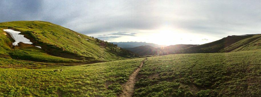 Path, Trail, Mountain, Sunset, Outdoors, Grass, Hills