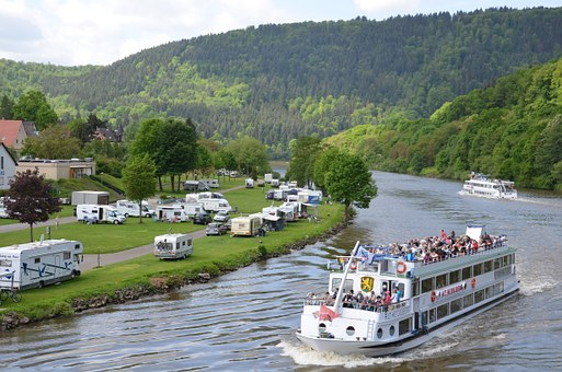 Germany, Neckargemuend, May 2015, River, Forest, Market