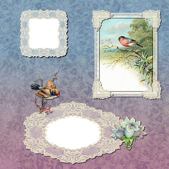 Scrapbook, Scrap, Background, Frames, Lace, Embroidery