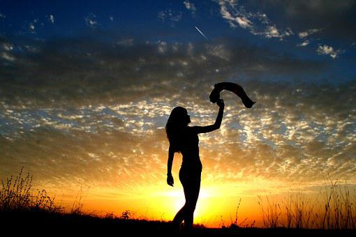 Girl, Sunset, Sun, Sky Clouds, Silhouette, Shadow, Red