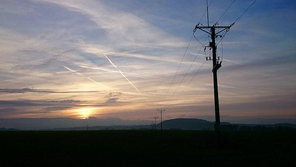 Village, Landscape, Fields, Evening, Sunset, Sky